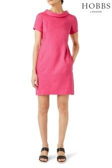 Hobbs Pink Linen Petra Dress