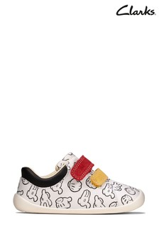Clarks White Roamer Comic T-Bar Shoes
