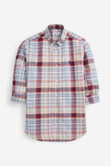 Roll Sleeve Linen Blend Shirt