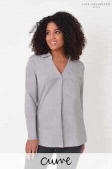 Live Unlimited Curve Slate Grey Cotton Slub Shirt