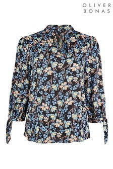 Oliver Bonas Orchid Printed Blue Long Sleeve Top