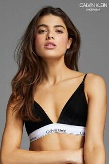 Calvin Klein Black Modern Cotton Velvet Unlined Triangle Bra