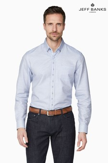 Jeff Banks Blue Motif Dobby Weave Tailored Fit Casual Shirt