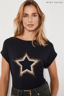 Mint Velvet Black Sequin Star T-Shirt