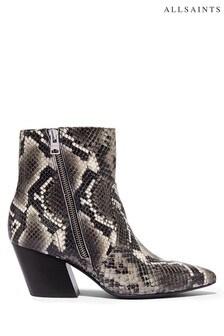 AllSaints Black Aster Snake Ankle Embossed Boots