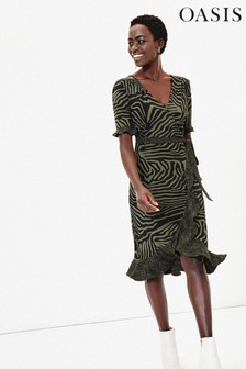 Oasis Green Tiger Patched Wrap Dress