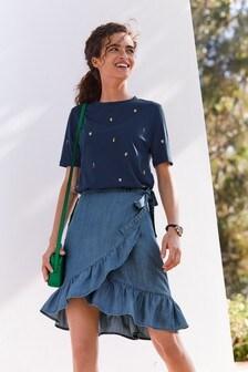 TENCEL™ Ruffle Hem Wrap Skirt