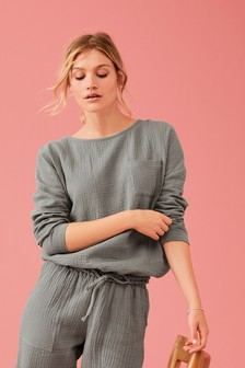 Textured Cotton Bubble Hem Top