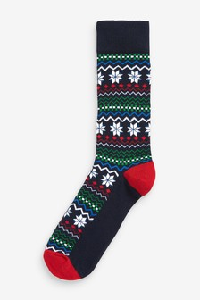 Single Christmas Fairisle Pattern Socks