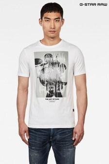 G-Star White Graphic 1 Slim T-Shirt