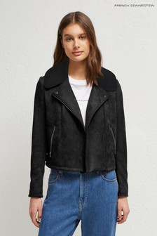 French Connection Black Amaranta Suedette Biker Jacket