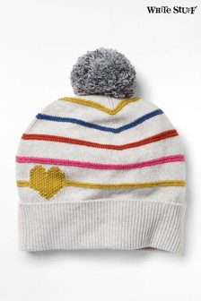 White Stuff Silver Heart & Stripe Pom Hat