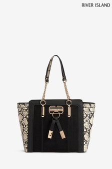 River Island Black Panelled Wing Tote Bag