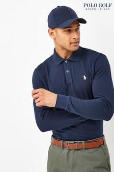 Polo Golf by Ralph Lauren Navy Contrast Collar Long Sleeve Polo