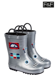 F&F Silver Robot Wellies