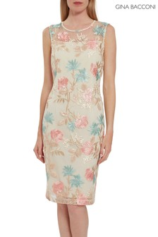 Gina Bacconi Natural Maristella Embroidered Dress