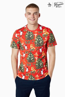 Original Penguin® Short Sleeved Santa Print T-Shirt