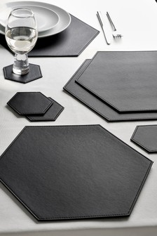 Set of 4 Hexagon Faux Leather Placemats And Coasters