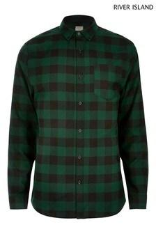 River Island Green Buffalo Check Shirt