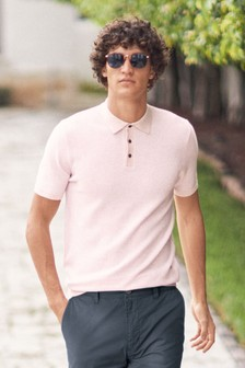 Textured Cotton Short Sleeve Polo Top