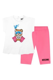 Moschino Kids Baby Girls White Cotton Outfit