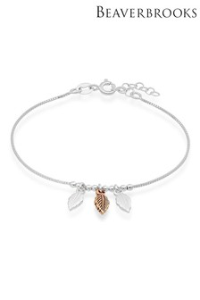 Beaverbrooks Silver And Rose Gold Plated Silver Feather Bracelet