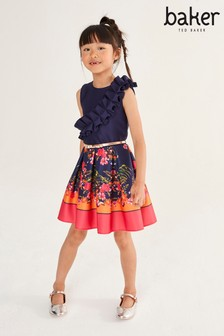Baker by Ted Baker Girls Pink Floral Pleated Dress