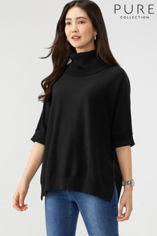Pure Collection Black Oversized Poncho With Cashmere