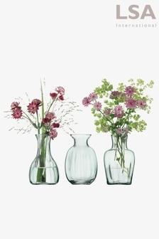 LSA International Clear Mia Recycled Mini Vase Trio