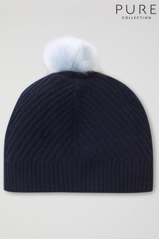 Pure Collection Blue Cashmere Ribbed Hat