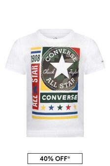 Boys White Cotton Logo T-Shirt