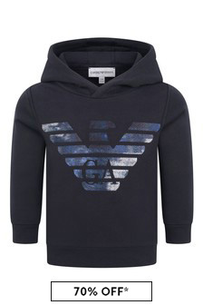 Emporio Armani Baby Boys Navy Cotton Hooded Sweater