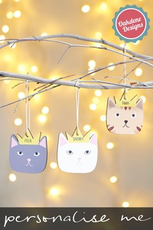 Personalised Cat Hanging Decoration by Oakdene Designs