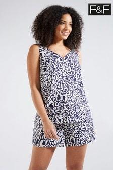 F&F Blue Animal Print Built-Up Camisole