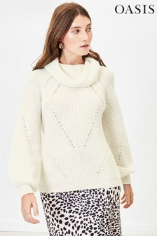 Oasis White Wide Roll Neck Jumper