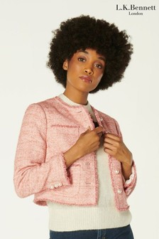 L.K.Bennett Pink Celeste Tweed Jacket With Pearl Buttons