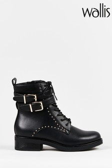 Wallis Austin Black Strap And Stud Biker Boots