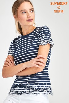 Superdry Navy Stripe Lace T-Shirt