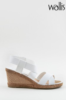 Wallis Starfruit White Elastic Detail Wedges