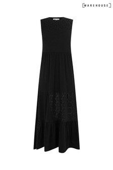 Warehouse Black Broderie Patchwork Midi Dress