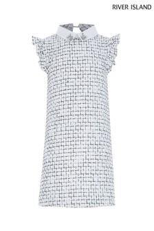 River Island White Bouclé Collar Dress