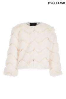 River Island Cream Fifi Faux Fur Jacket