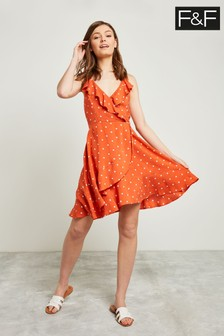 F&F Tan Polka Dot Ruffle Dress