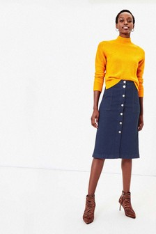 Oasis Blue Button Through A-Line Midi Skirt