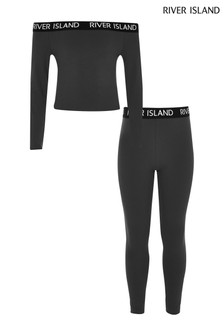 River Island Grey Bardot Top And Leggings Set