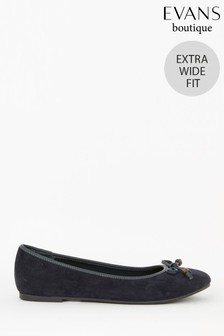 Evans Extra Wide Fit Navy Blue Bow Ballerina Pumps