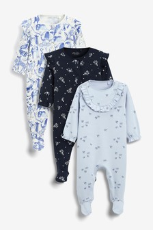 3 Pack Frill Detail Sleepsuit (0-2yrs)