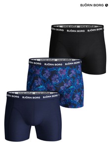 Bjorn Borg Floral Print And Solid Colour Trunks Three Pack