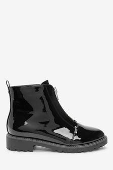 Forever Comfort® Black Front Zip Boots