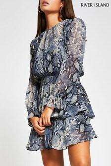 River Island Blue Light Long Sleeve Snake Shirred Waist Tea Dress